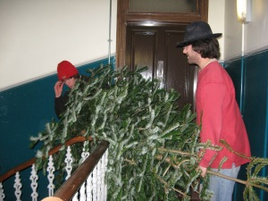 The size of the mighty tree made stairs tricky. First Al tried to go first...
