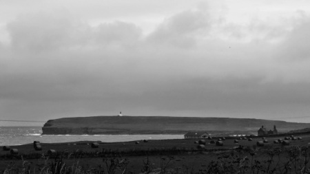 The overcast view across to Birsay