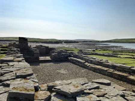 Looking across the causeway from the ruined church.