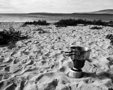 Making coffee on the beach!