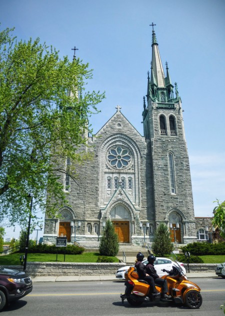 Quebec seems to have a lot of nice churches, and a lot of chunky motortricycles.