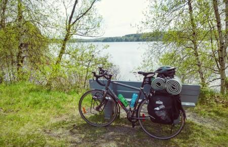 Taking a break, sitting by the lake.